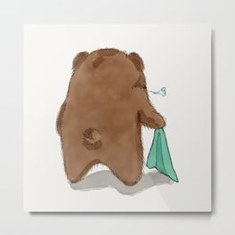 Tired Bear Metal Print