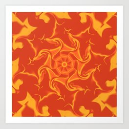 Red Orange and Yellow Kaleidoscope 3 Art Print
