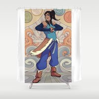 legend of korra Shower Curtains featuring The Avatar Korra by garciarts