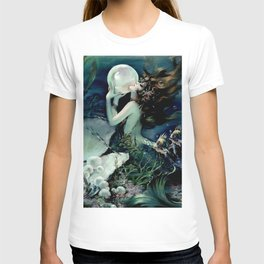 Henry Clive: Mermaid with Pearl dark teal T-shirt