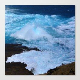 Tropical Hawaii Island Crashing Waves and Bubbling Surf Canvas Print