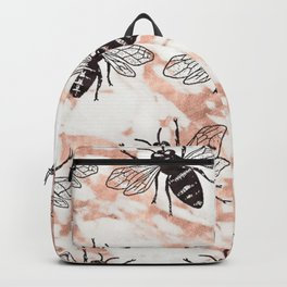Bees on rose gold marble Backpack