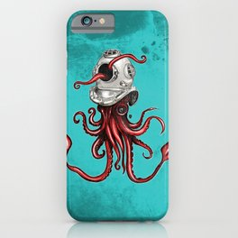 Squid with Diving Helmet iPhone Case