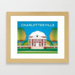 Charlottesville, Virginia - Skyline Illustration by Loose Petals Framed Art Print