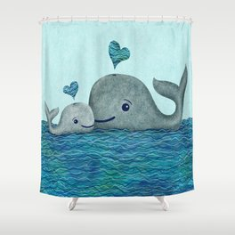Whale Mom and Baby with Hearts in Gray and Turquoise Shower Curtain