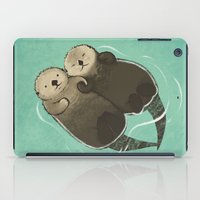 otters iPad Cases featuring Significant Otters - Otters Holding Hands by StudioMarimo