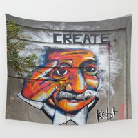 einstein Wall Tapestries featuring Einstein Create by Kebt