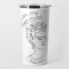 Frida Kahlo continuous line art print Travel Mug