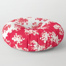 small bouquets in bright red with border Floor Pillow