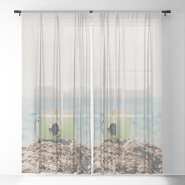 """the """"dreamer"""", a mint green camera with the ocean behind it Sheer Curtain"""