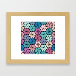 Geometric flowers pattern Framed Art Print