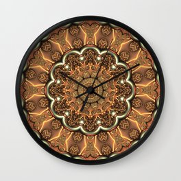 Molten Copper Mandala Wall Clock