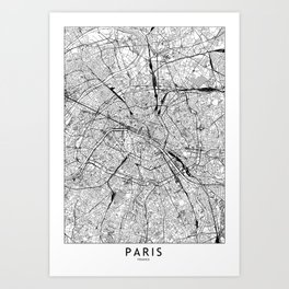 Paris White Map Art Print