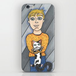 Boy and his crabby cat iPhone Skin
