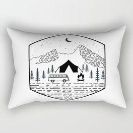 Minimal Retro Mountain Camping Hiking Rv Camper Van Outdoor Rectangular Pillow