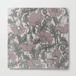 Fox among the flowers #2 Pink and Grey Metal Print