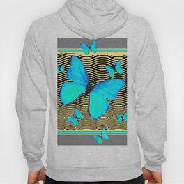 Blue Butterflies On black-yellow Grey Patterns Hoody