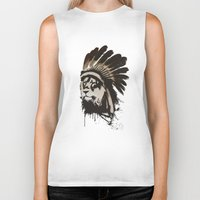 headdress Biker Tanks featuring Lion Headdress by Alyn Spiller
