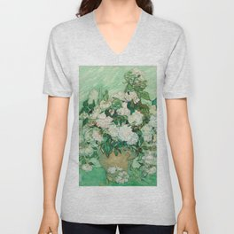 Vincent van Gogh Roses 1890 Painting Unisex V-Neck