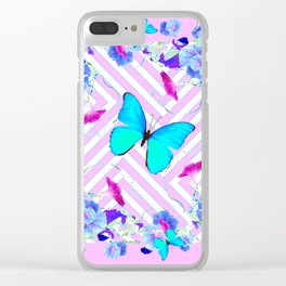 Turquoise Blue Butterflies Morning Glories Abstract Pattern Clear iPhone Case