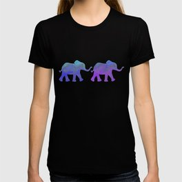 Follow The Leader - Painted Elephants in Royal Blue, Purple, & Mint T-shirt