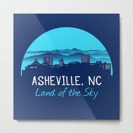 Asheville Cityscape - Land of the Sky - AVL 7 Blue Gradient Metal Print