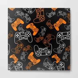 Video Games Orange on Black Metal Print