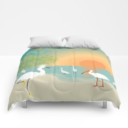 Egrets on a Sunset Beach Comforters