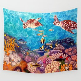 A Good Day for a Swim - Seaturtles in the reef Wall Tapestry