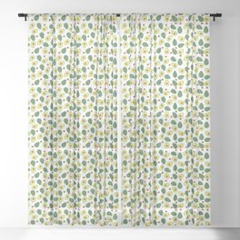 Sage Green and Cream Avocados Pattern Sheer Curtain