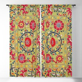 Lakai Suzani Uzbekistan Floral Embroidery Print Blackout Curtain