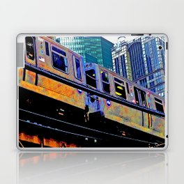 Chicago 'L' in multi color: Chicago photography - Chicago Elevated train Laptop & iPad Skin