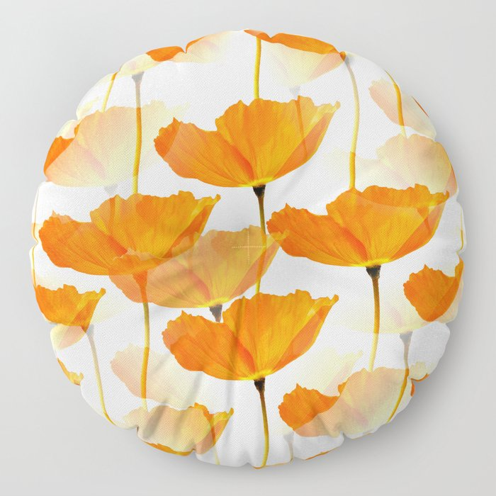 Orange Poppies On A White Background #decor #society6 #buyart Floor Pillow