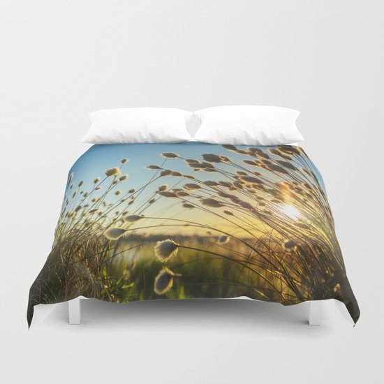 Cotton grass from the high moorland Duvet Cover