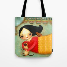 Siamese Cat Angel sweet collage painting by Tascha Tote Bag