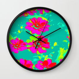 Funky pink mint flowers Wall Clock