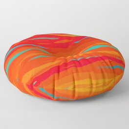 Ripped Turquoise Sunset Sky Floor Pillow