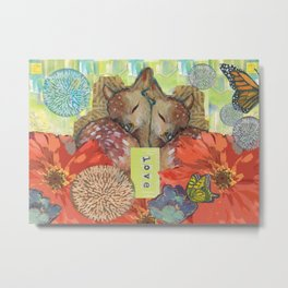 Fawns, Flowers, and Love Metal Print