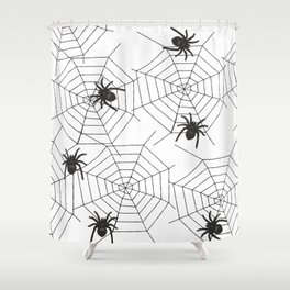 Black Spider Halloween web Shower Curtain