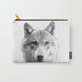 Black and White Wolf Carry-All Pouch