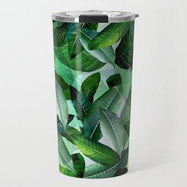 Banana palm leaf tropical jungle green Travel Mug