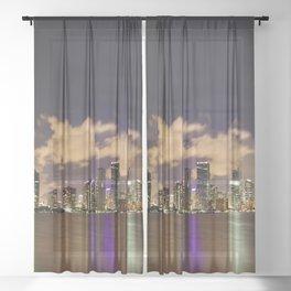 Downtown Miami Night Sheer Curtain