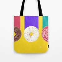 donuts Tote Bags featuring Donuts by Danny Ivan