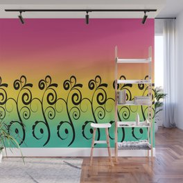 Ombre  Misty Rainbow Black Swirl Pattern - Pink, Yellow & Turquoise Wall Mural