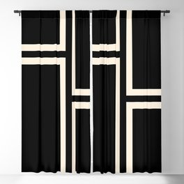 Strong Deco - Geometric Minimalism in Almond Cream and Black Blackout Curtain
