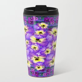 Purple Pansies Garden in  Green Jade Color Frame  Abstract Travel Mug
