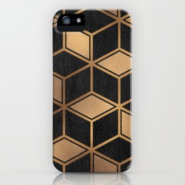Charcoal and Gold - Geometric Textured Cube Design II iPhone Case