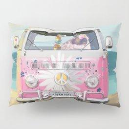 Pug Girly Adventure Peace Pillow Sham
