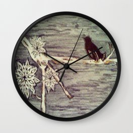 Black bird on a winters day Wall Clock