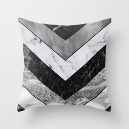 Shimmering mirage - grey marble chevron Throw Pillow